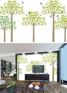 手绘树电视背景墙