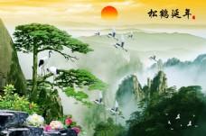 松鹤延年山水画装饰画