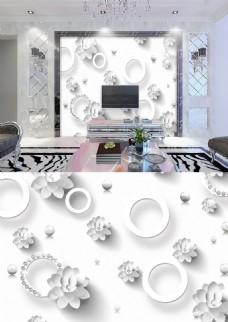 浮雕3d白色花朵现代淡雅简约珠宝背景墙