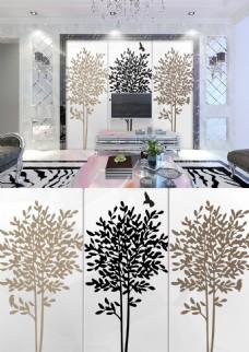 现代简约黑白褐色发财树小鸟简洁背景墙
