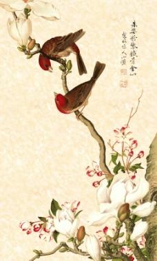 花鸟图工笔玉兰花玄关装饰画背景墙