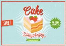 手绘文艺怀旧蛋糕美食促销海报