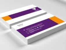 紫金配色简洁横版名片