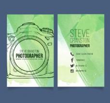 手绘照相机摄影师名片矢量