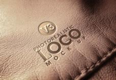 高档皮革上的LOGO标志样机