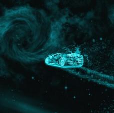 蓝色炫酷冰霜车