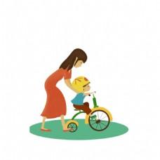卡通小男孩骑车png元素
