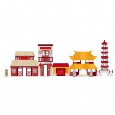 中国风复古建筑png元素