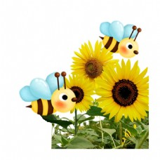 向日葵小蜜蜂png透明元素