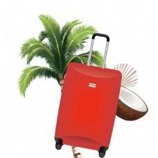 红色行李箱png元素