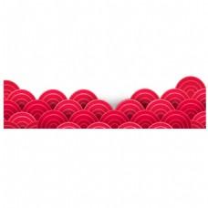 手绘红色海浪元素