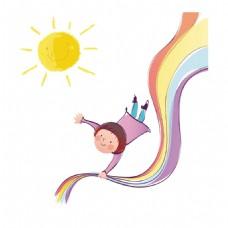 手绘彩虹儿童元素