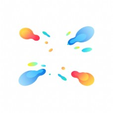 手绘彩色水墨元素