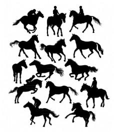 14款创意马术用马剪影矢量素材