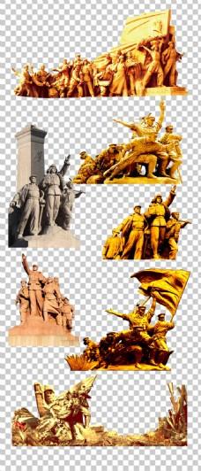 高清八一建军节革命人物雕塑素材