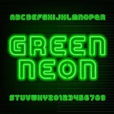 36个绿色霓虹灯字母和数字矢量素材