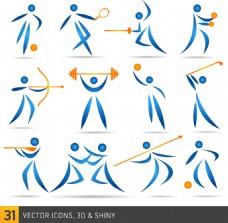 简单蓝色运动人物卡通矢量图标素材