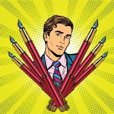 手绘钢笔和商务男人插画