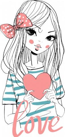拿爱心的女生插画