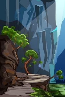山林里的风景插画