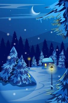冬夜森林里的风景插画