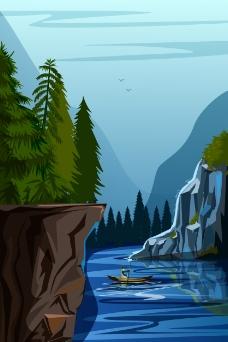 山林里的河流插画