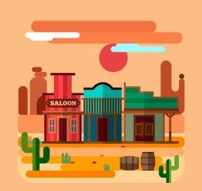扁平化西部沙漠和商铺风景矢量
