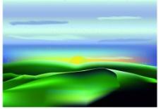 美丽的草原风景插画