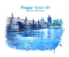 水彩绘大河风景插画