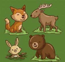 4款卡通笑脸森林动物矢量