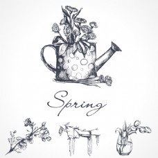 素描手绘花朵插画