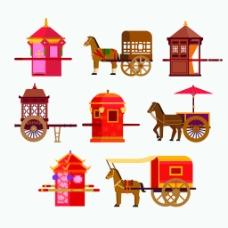 扁平化中国古代结婚建筑房屋矢量素材