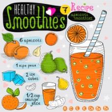 手绘水果汁插画