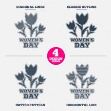 三朵花植物标志设计