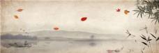 水墨树枝花纹背景图