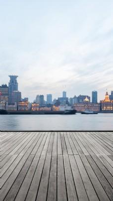 唯美城市建筑大海H5背景素材