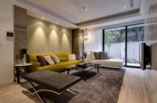 现代美式客厅背景墙效果图