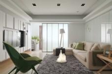 现代客厅白色背景墙效果图