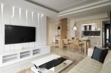 客厅白色电视墙效果图