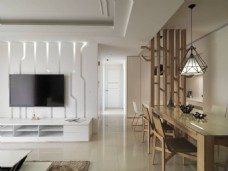 中式简约客厅背景墙效果图