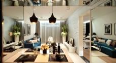 现代欧式客厅背景墙效果图