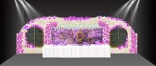 紫色婚礼签到展示效果图