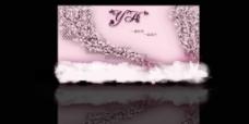 粉色合影婚礼背景墙效果图