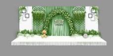 小清新白绿色森系婚礼背景墙效果图
