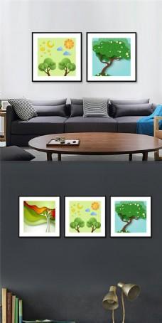 高档卡通植物无框画设计