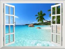 3d窗户大海棕榈简约不简单