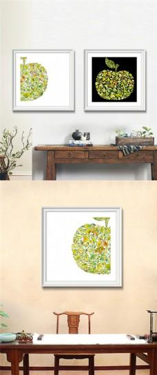 彩色苹果装饰画设计