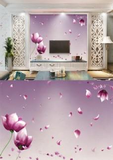 现代简约淡雅紫色花朵背景墙