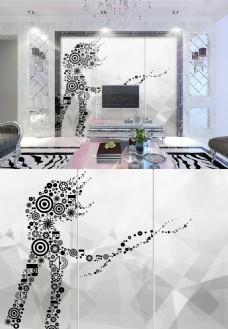 现代简约黑白几何图案女人背景墙