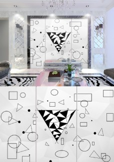 现代简约三角形几何图案简洁背景墙